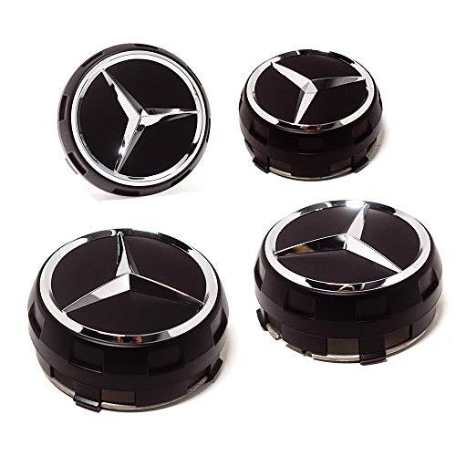 4 Angehobene Radnabendeckel für Mercedes, Außendurchmesser 75 mm, Innendurchmesser 71 mm, Farbe Elegantes Schwarz, Ersatzteil für Leichtmetallfelgen.