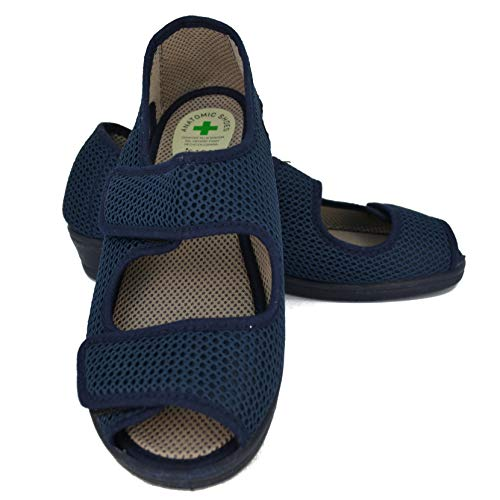 ISASA Zapatilla de señora Crimea Azul, de Farmacia, Doble Velcro Semi Cerrada Fabricada en Rejilla Farmacia Azul con Dos velcros para un Ajuste idoneo para pies delicados. Talla 38.