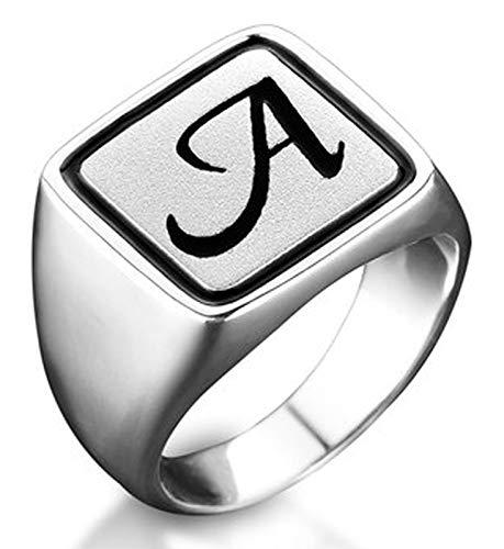 RXSHOUSH Anillo de plata S925 para hombre, diseño de letra a abierta, regalo de la suerte para hijo o novio, anillo