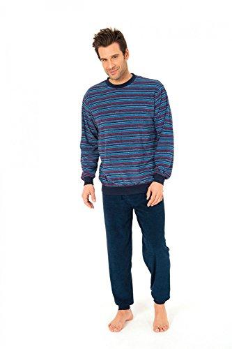 Unbekannt Herren Frottee Pyjama Langarm mit Bündchen in Übergrössen - 2erpack - bis Grösse 62, Farbe:Mix;Größe:62