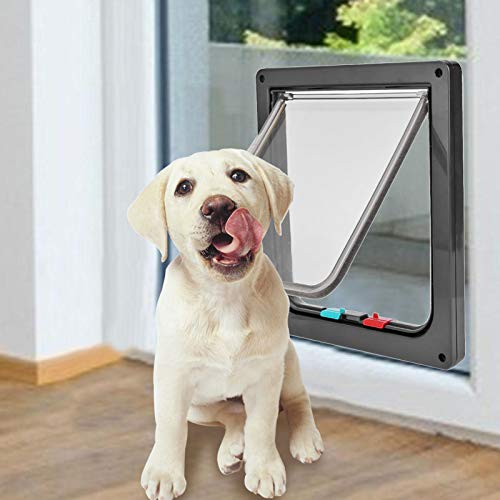 Bestine Cat Flap Puppy Door, Dog Flap 4 Way Locking Extra Large Medium Small Pet Door Flap for Indoor Outdoor Doors, 3 Size (Black) (L)