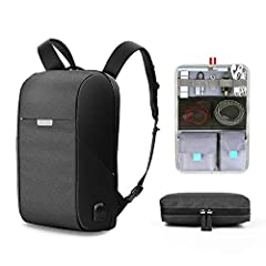 【DURABLE & SOLID】 Made of Water Resistant and Durable Polyester Fabric with metal zippers. Ensure a secure and long usage everyday & weekend.Serve purpose as professional work bacpack at office,slim fashion bagpack with usb port,college bookbag, high...