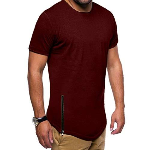 Xmiral T-Shirt Uomo T-Shirt Semplice Moda Casuale Maniche Corta T Shirt Maglietta da Uomo Camicie da Uomini Tees Manica Lunga Tops Maniche Corte Polo Maglietta Uomo L Vino