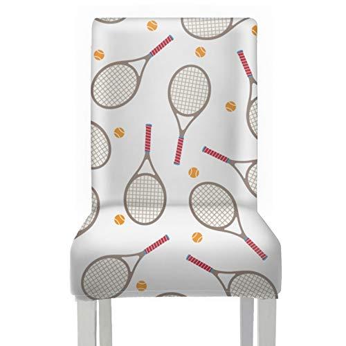 WYYWCY Fundas de Repuesto para sillas de Comedor Raqueta de bádminton y Raqueta de Tenis Sillas de Comedor Fundas de Asiento Fundas de poliéster elásticas extraíbles y Lavables para Silla