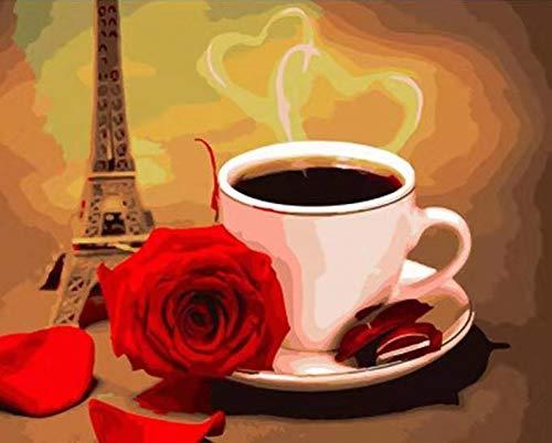 nobrand Bilder Moderne Plakatdekoration Malerei Kunstwerk Wandmalerei 2020 Neue Schlafzimmer Küche Hauptdekoration Kaffee Blumen und Eiffelturm Rahmenlos 40x60cm