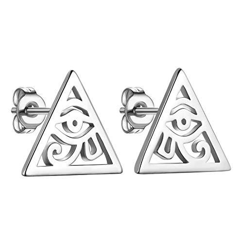 Beautlace Egyptian Eye of Horus Studs Black Gun Plated Ancient Triangle Eyes of Evil Symbol of Protection Stud Earrings for Men and Women KE0003K
