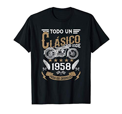 Hombre Motero Todo Un Clásico Nacido En 1958 Cumpleaños Camiseta