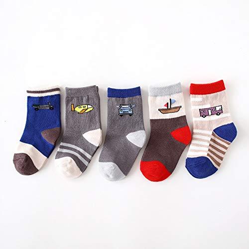 Socks Lot de 5 Chaussettes en Coton à la Mode pour Filles, garçons et Enfants