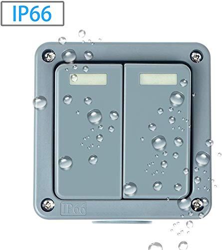 Nineleaf verrekijkerbox, IP66 waterdicht, met weerbestendige afstandsbediening, schakelkast, 15 A, met 3 schakelaars, universeel inzetbaar voor buiten, grijs