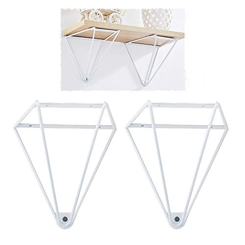 Opknoping Floating Shelf - DIY rekken Triangle Design - 2 stuks Vintage Industrial plank beugel, Wall smeedijzer wandplank Industrial Meubels voor Planken Black,White