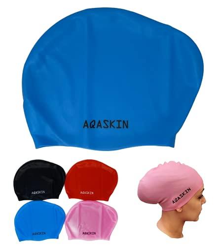 AQASKIN Cuffie Nuoto Professionali Capelli Lunghi in Silicone Bielastico - SCONTI QUANTITÀ - Piscina Acquagym per Adulti e Ragazzi - Unisex-Quantità 1-25-50-100 pz-Disponibilità Colori. (Celeste)