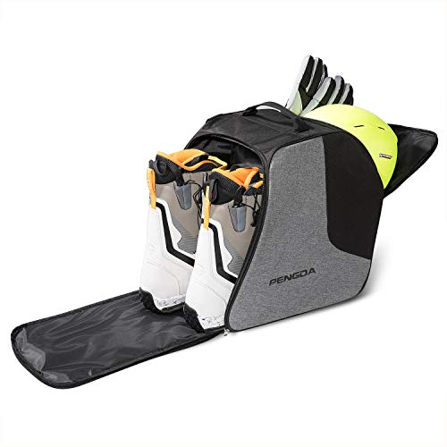 PENGDA Ski Boot Bag -Ski Boots and Snowboard Boots Bag Waterproof Travel Boot Bag for Ski Helmets, Goggles, Gloves, Ski Apparel & Boot Storage(2 Separate Compartments) (Black Grey)