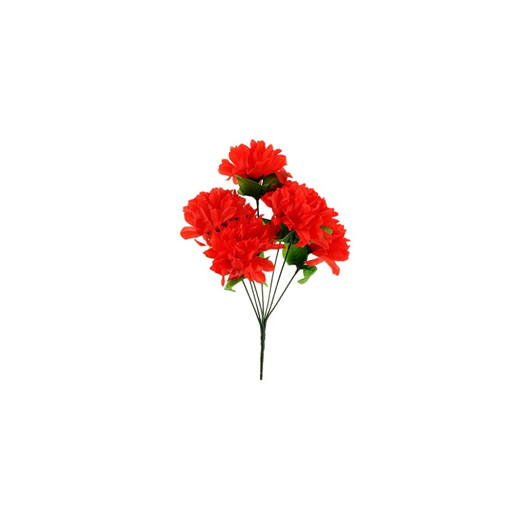 Artificial Silk Flower Arrangement In Pot For Grave/Memorial Vase/Funeral |Color – Red|