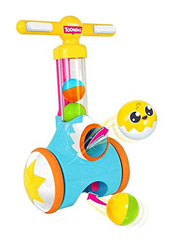TOMY Toomies Pic & Pop Push Along Baby Toy | Toddler Ball Popper With Ball Launcher And Collector | Suitable For 18 Months, 2 & 3 Year Old Boys & Girls ,Multicoloured,E71161