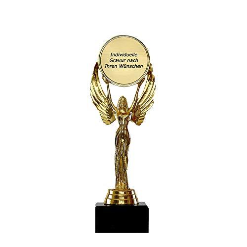 Pokale Fischer Romantische Siegerfigur Victoria Frau – Geschenk individuell personalisiert für Frauen und Männer - Siegerstatue mit 22,5 cm hoch