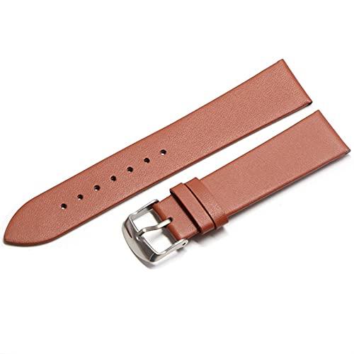 WZWS Correa Reloj Correa de Cuero 18 mm 20 mm 22mm Correa Reloj de Cuero (Band Color : Light Brown Silver, Band Width : 18mm)