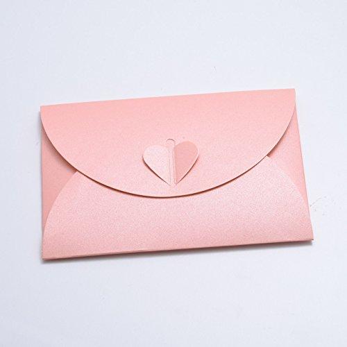 10 Rosa Herz-Umschläge aus glitzerndem Pearl-Karton, C6 = 162 x 114 mm, z.B. für Einladungen zur Hochzeit, Verlobung, als Liebesbrief