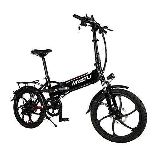 ZBB 20 Pulgadas 6 velocidades 48V / 10AH 250W Bicicleta eléctrica Plegable Ligera Bicicleta eléctrica con Interfaz de Carga USB Batería de Litio Ebike para Adultos,Negro