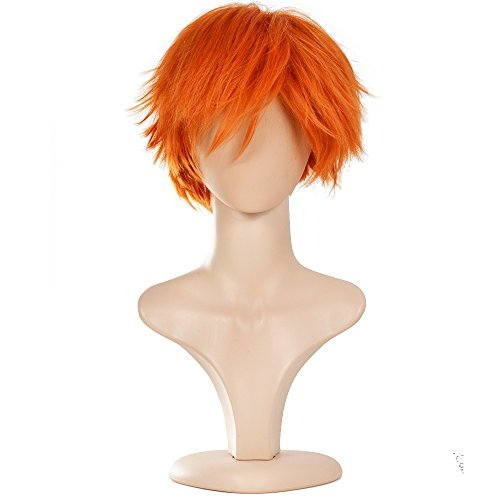 Ecvtop Wigs for Mens' Death Note Male Short Hair Wig Costume Cosplay Wigs (Orange)
