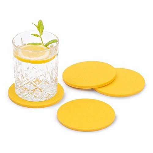 FILU Filzuntersetzer rund 8er Pack (Farbe wählbar) gelb – Untersetzer aus Filz für Tisch und Bar als Glasuntersetzer/Getränkeuntersetzer für Glas und Gläser