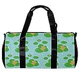 Bolsa de deporte redonda con correa de hombro desmontable, flores de loto, hojas verdes, bolsa de entrenamiento de piscina de agua, bolsa de noche para...