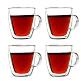 Double Wall Coffee Mugs 5.4oz Insulated Glass Cups with Handle Set of 4 for Drinking Tea, Latte Espresso, Juice or Water
