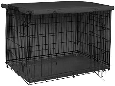 Uranbee Housse pour Cage Chien, Housse de Niche pour Animal Domestique, Durable et Coupe-Vent, pour Cage Métallique Intérieure et Extérieure (M: 94 x 61 x 63,5 cm, Noir)