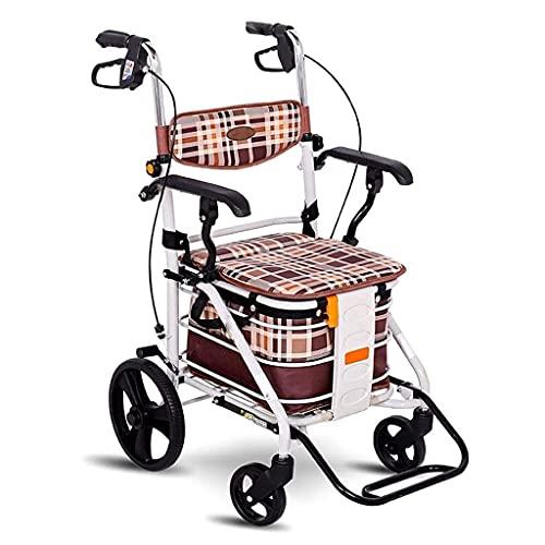 Carritos de compras multifunción Carros de almacenamiento de cocina Carrito de compras plegable Cuatro ruedas con asiento acolchado Marco para caminar ajustable en altura Carros de asistencia para cam