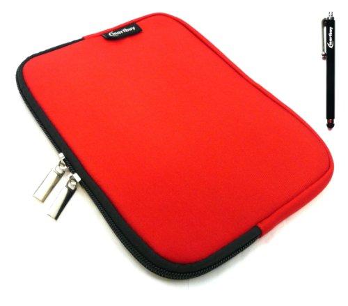 Emartbuy® Archos 80 Cesium 8 Zoll Windows Tablet Schwarz Eingabestift + Rot Wasserfest Neopren weich Zip Tasche Hülle Sleeve (8 Zoll Tablet)