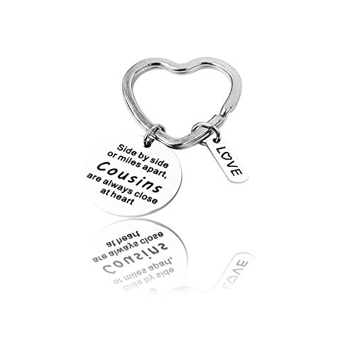 Cousin Gift Cousin Bracelet Side by side or miles apart,cousins are always close at heart Cousin Jewelry Gift for Cousins (Keychain)