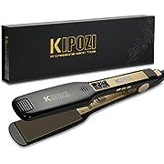 Plancha de pelo profesional KIPOZI large con pantalla LCD, doble voltaje para viajar, placa ancha de 4.5 cm calienta rápidamente para suavizar el pelo, negro