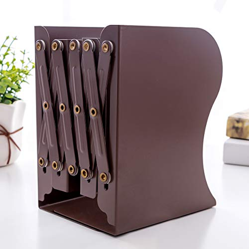 PUNCIA Expandable Bookcase Desktop Bookend Stand Holder Adjustable Telescopic Shrink Book Rack for Kid Child Student Book Organizer (Brown)(4-17.7in) x 7.5in x 5.9in