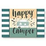 """TIANTUR felpudos Entrada casa Alfombra Alfombrilla de Puerta Personalizada Happy Camper Caravanas Estilo Retro Viajes gráficos Interiores Antideslizantes alfombras de Entrada para baño 20""""x32"""""""