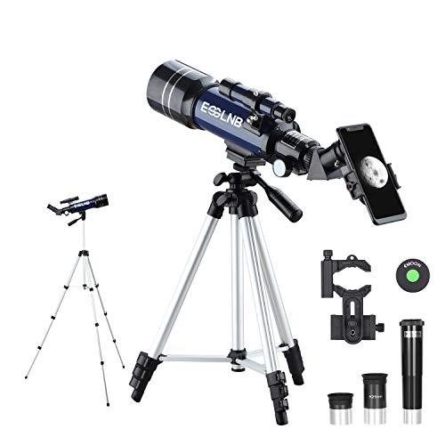 ESSLNB Teleskop Kinder Einsteiger 70/360 Astronomisches Teleskop mit Handyhalterung Stativ 3X Barlow und Mondfilter