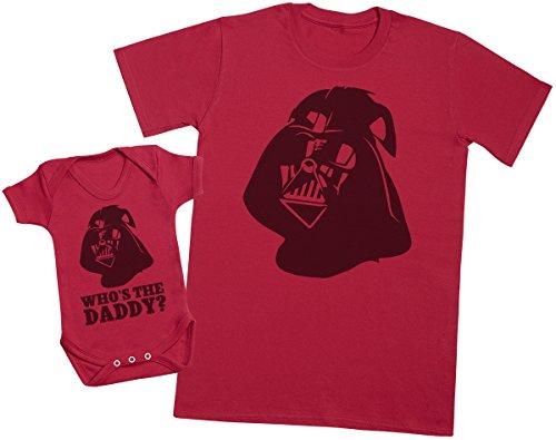 Zarlivia Clothing Who's The Daddy? - Ensemble Père Bébé Cadeau - Hommes T-Shirt & Body bébé - Rouge - Large & 6-12 Mois