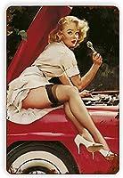 ブリキ メタル プレート サイン 2枚 ヴィンテージブリキ看板ピンナップガール修理車ヴィンテージ壁の装飾レトロアートブリキ看板面白い装飾ホームバーパブカフェファームルームメタルポスター12x8で