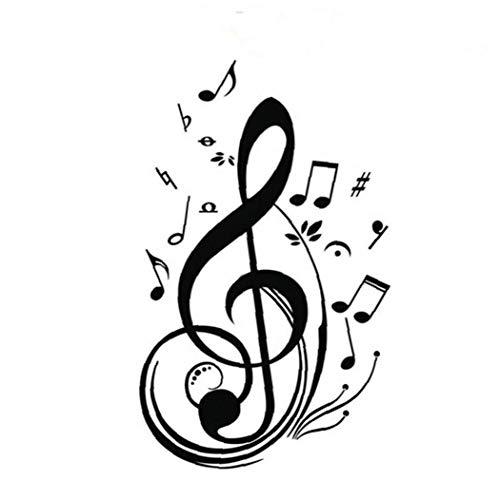 Amoyer 2pcs Pegatinas De Pared De Notas Musicales De La Sala Decoración Mural De La Pared Cubiertas De Papel Se Dirigen La Etiqueta Cartel De La Pared De PVC