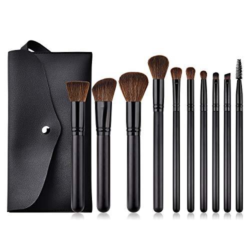 Juego de brochas de maquillaje para base de maquillaje, difuminado, corrector, sombra de ojos, cerdas de fibra sintética y asas de madera, incluye bolsa de viaje