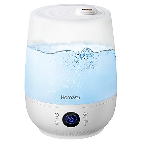 Homasy Ultraschall Luftbefeuchter, 4.5L Top-Füllung Humidistat Touch Screen Humidifier bis zu 40-50m², 28dB Leise Raumluftbefeuchter, 35-Hour Luftbefeuchter Baby mit Schlafmodus-Beige
