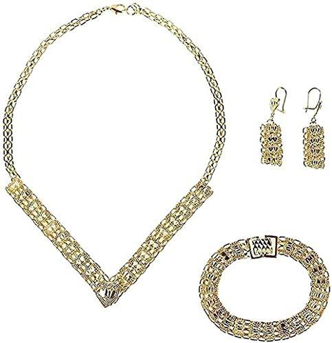 LBBYLFFF Collar de Color de Moda, Collar de Oro, Dubai, Conjunto de Joyas turcas egipcias, argelino, marroquí, Indio, joyería Saudita, Regalos