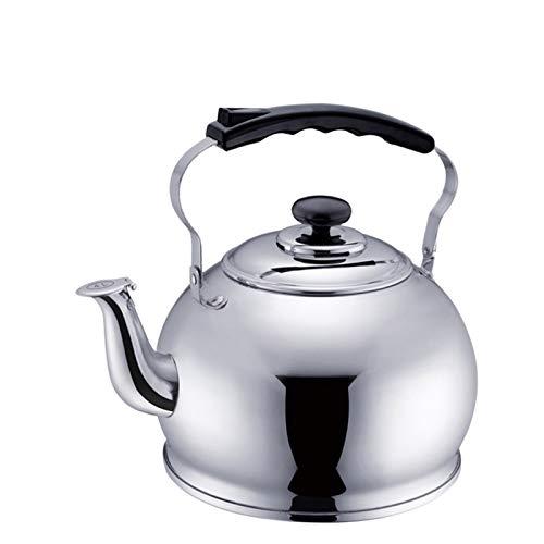 Ergonomiskt utformad Kettkokare Stovetop Rostfritt stål Whistling Tea Kettle Lämplig för Induktion Spis Gas spis (Size : 5L)
