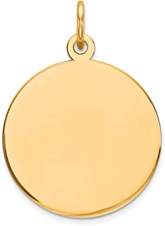 Solid 10k Yellow Gold Heart Disc Charm Engravable Pendant 17mm x 12mm
