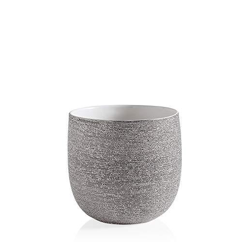 Torre & Tagus Brava Textured Drop Pot, Large, Silver