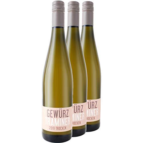 """Nehrbaß - """"Gewürztraminer 2019"""" - Weißwein trocken 3 x á 0,75 Liter - Qualitätswein - Vegan - Aus Deutschland (Rheinhessen) - mit Schraubverschluss"""