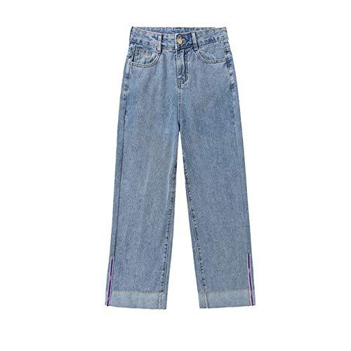 GenericBrands Jeans Casual da Donna Decorazione Tascabile Pantaloni Larghi in Denim Pantaloni Larghi a Gamba Dritta per Tutti i Giorni