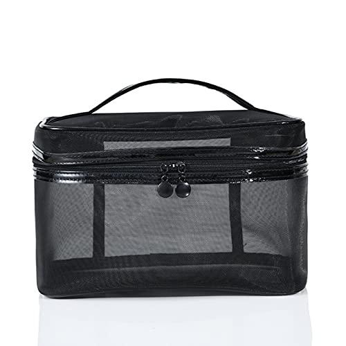 Bolsos cosméticos para mujer y hombre Debe tener bolsa de cosméticos de malla portátil transparente bolsa de almacenamiento de viaje grande negro, Cuadrado., 22*13*14cm,