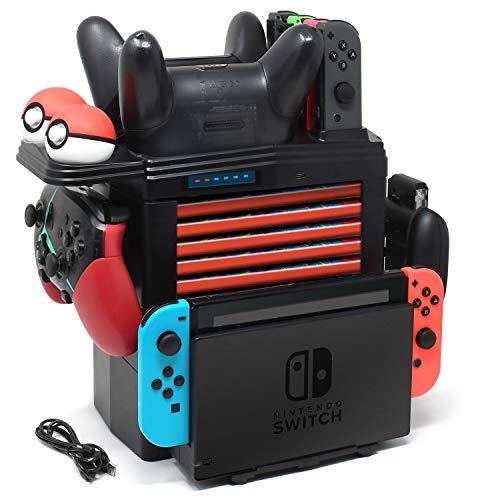 YUANHOT Kompatibel mit Nintendo Switch Ladestation, All-in-One Speicher & Ladestation für Nintendo Switch Joy-Cons, Pro Controller, Pokeball Plus Controller und mehr Switch Zubehör