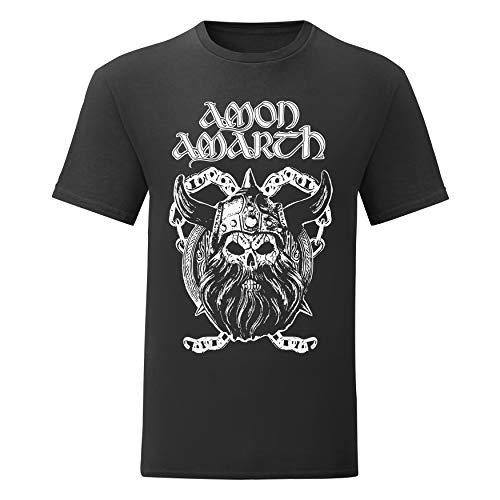 LaMAGLIERIA Herren-T-Shirt Amon Amarth - Viking Skull - 100% Baumwolle, XL, Schwarz