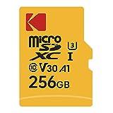KODAK microSDHC 256GB Speicherkarte Klasse 10 TF Karte Ultra Performance UHS-I U3 V30 A1 für Video & Mobile Speicherung