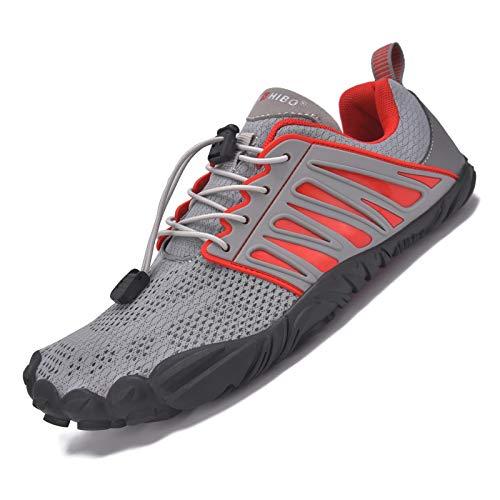 JACKSHIBO Barfußschuhe Damen Herren Barfussschuhe Indoor Outdoor Barfuß Traillaufschuhe Wanderschuhe rutschfest Kletterschuhe Leicht fünf-Finger-Schuhe Strandschuhe (Grau Rot,44EU)
